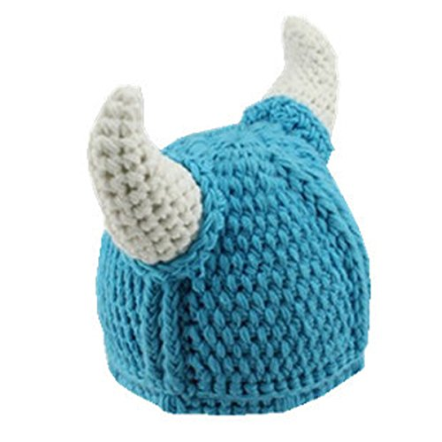 Handmade Winter Viking Horn Knit Wool Baby Caps (0-3years Old, Blue)