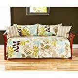 Green Polyester with Bedskirt Included, 5-piece Daybed Ensemble, Floral Pattern Includes a Cross Scented Tart