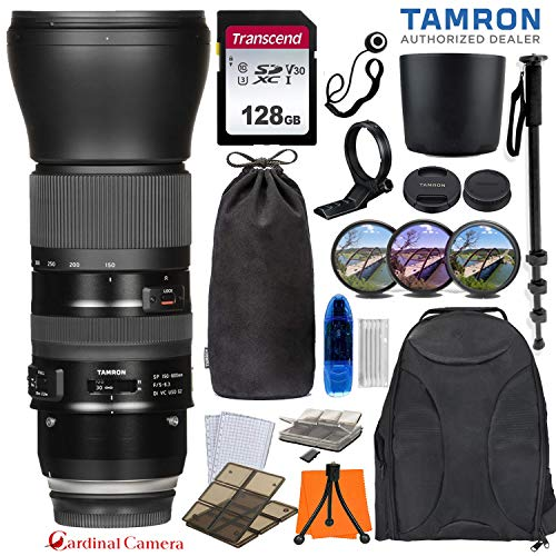 Tamron SP 150-600mm f/5-6.3 Di VC USD G2 Lens for Nikon F Mount Cameras w/ 128GB Transcend Memory Card + Tripod Collar + Soft Lens Pouch + Exclusive Travel Accessory Bundle (6-Year Tamron Warranty)