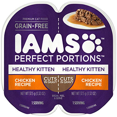 IAMS PERFECT PORTIONS Healthy Kitten Grain Free Wet Cat Food Cuts in Gravy Chicken Recipe, (24) 2.6 oz. Twin-Pack Trays