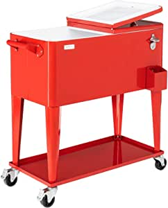 VINGLI 80 Quart Rolling Ice Chest on Wheels, Portable Patio Party Bar Drink Cooler Cart, with Shelf, Beverage Pool with Bottle Opener,Water Pipe and Cover (Red)