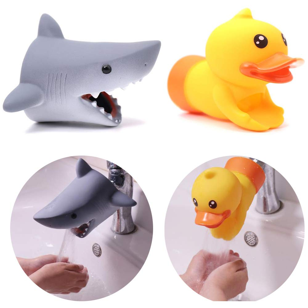 NeatoTek Faucet Extender, Silicon Animal Spout Sink Handle Extender for Toddlers Kids, Baby Safe and Fun Hand- Bathroom Accessory to Teach Children Safe Hand-Washing Habits (2 Pack -Shark, Duck)