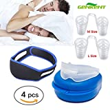 KKONETOY- Anti Snoring Chin Strap Devices and Nose Vent and Mouth Guards for Teeth Grinding with case, Snores Stopper Nose Vents Device,Chin Strap,Anti Snore Mouthpiece 4PCS in 1 Kit For Sleeping