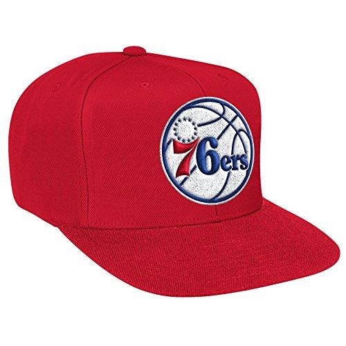 Philadelphia 76ers NBA Mitchell & Ness Team Logo Solid Wool Adjustable Snapback Hat (Red)