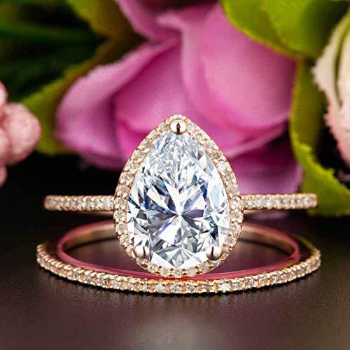 (2 Carat Pear Shape Moissanite and Diamond Halo Wedding Ring Set In Rose Gold)