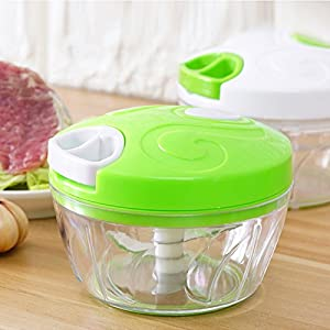 Hand Pull Type Minced Multifunctional Manual Food Chopper Vegetable Chopper Speedy Chopper Easy To Deal Vegetables/Mincer/Onions/Carrots/Garlic/Pepper/Meat/Puree/Salad/Pesto/Coleslaw (green)