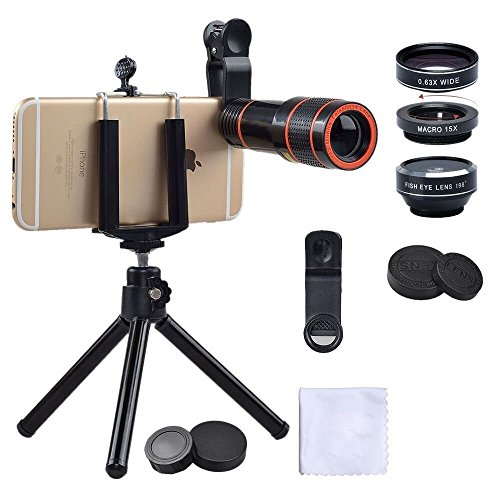 SIM enterprise Smart phone 4 in 1 kits 12X zoom telephoto lens + 198 degree fisheye + 0.63X wide angle + 15X macro + tripod with phone holder for iPhone, Samsung, HTC, Huawei, LG by SIM enterprise