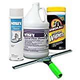 ErgoTec Squeegee, 18'' Wide Blade + Misty Glass & Mirror Cleaner w/Ammonia, 19oz Aerosol + Misty Neutral Floor Cleaner EP, Lemon, 1gal Bottle + Auto Protectant Wipes, 25/Canister