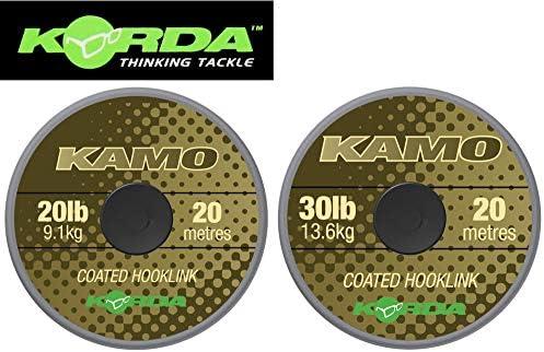 Korda Kamo Coated Hooklink 20m - Vorfachmaterial für Karpfenvorfächer, Vorfachschnur für Karpfenmontagen, Schnur für Karpfenrigs