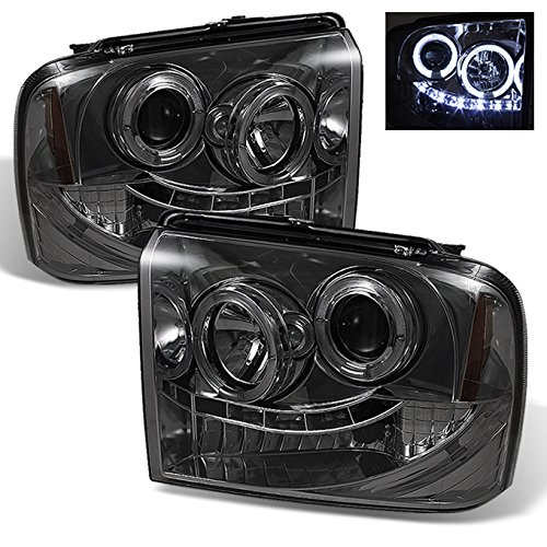 For Ford F250/F350/F450 SuperDuty 05 Excursion Smoked Smoke Dual Halo Ring LED Projector Headlights Pair