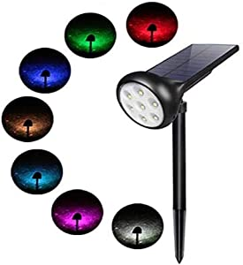Solar Spotlight Outdoor, Waterproof 7 LED Multi Color Solar Powered Security Landscape Lights, Adjustable Angle Garden Wall Lawn Lamp for Home Outdoor Fencing Tree Walkway Patio Porch Pathway