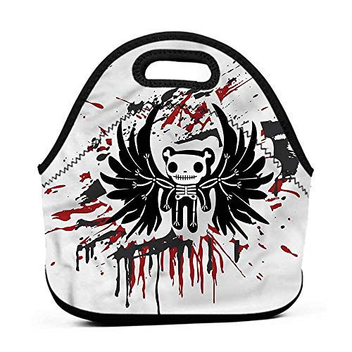 Travel Case Lunchbox with Zip Halloween,Comic Dead Skull Face,lunch box bag for men]()