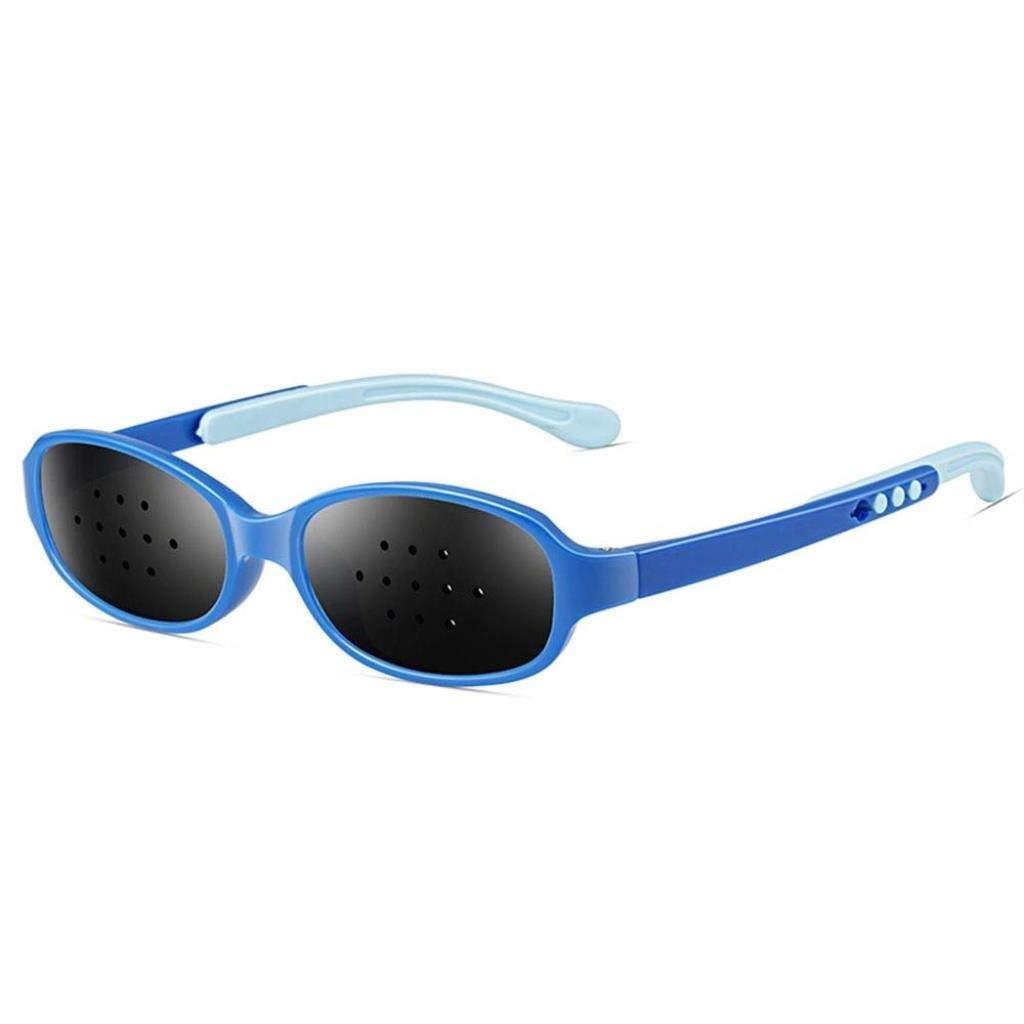 TTZ Pinhole Glasses for Children,Eyes Exercise Pinhole Glasses Anti-Fatigue Eyesight Vision Care Improve Glasses for Eyesight Strengthening (Color : Blue)