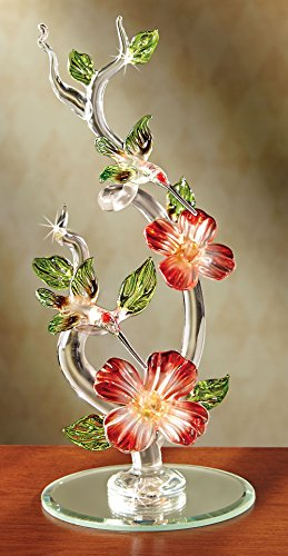 The Paragon Glass Dogwood Flower - Hummingbird Figurine Collectible, Miniature Arrangement, Handmade Ornament, Lampwork Figures (Ornaments Glass Collectible)