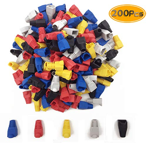 Network Cable Covers (200PCS Fireboomoon Soft Plastic Ethernet RJ45 Cable Connector Boots Plug Cover, Network Cable Boots Cap Cover.(Five Color))