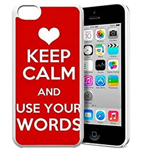 Keep Calm and Use Your Words Pattern HD Durable Hard Plastic Case Cover for iPhone 5c Design By GXFC Case