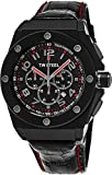 TW Steel CEO Tech Round Stainless Steel Black Watch - Black Dial Date 24-hour TW Steel Watch Mens - Black Leather Band 44mm Chronograph Watch CE4008