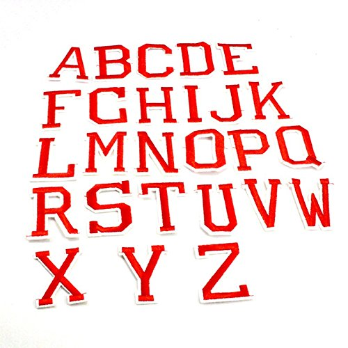 Yalulu 26PCs Red Alphabet Letter Embroidered Repair Patches Iron On Cloth Paste DIY Applique Craft Kids Clothing Hat Bag Decor
