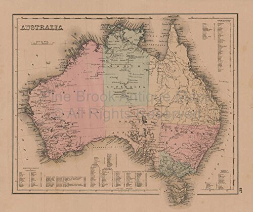 Australia Palestine Antique Map Gray 1876 Original Australian Decor Housewarming History - Palestine Antique