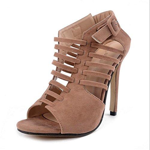 MZG Weibliche Sandalen öffnen Zehe-Hohl High Heels Kreuz mit wilden Schuhe apricot