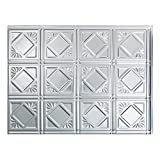 Fasade Easy Installation Traditional 4 Brushed Aluminum Backsplash Panel for Kitchen and Bathrooms (18 sq ft Kit)