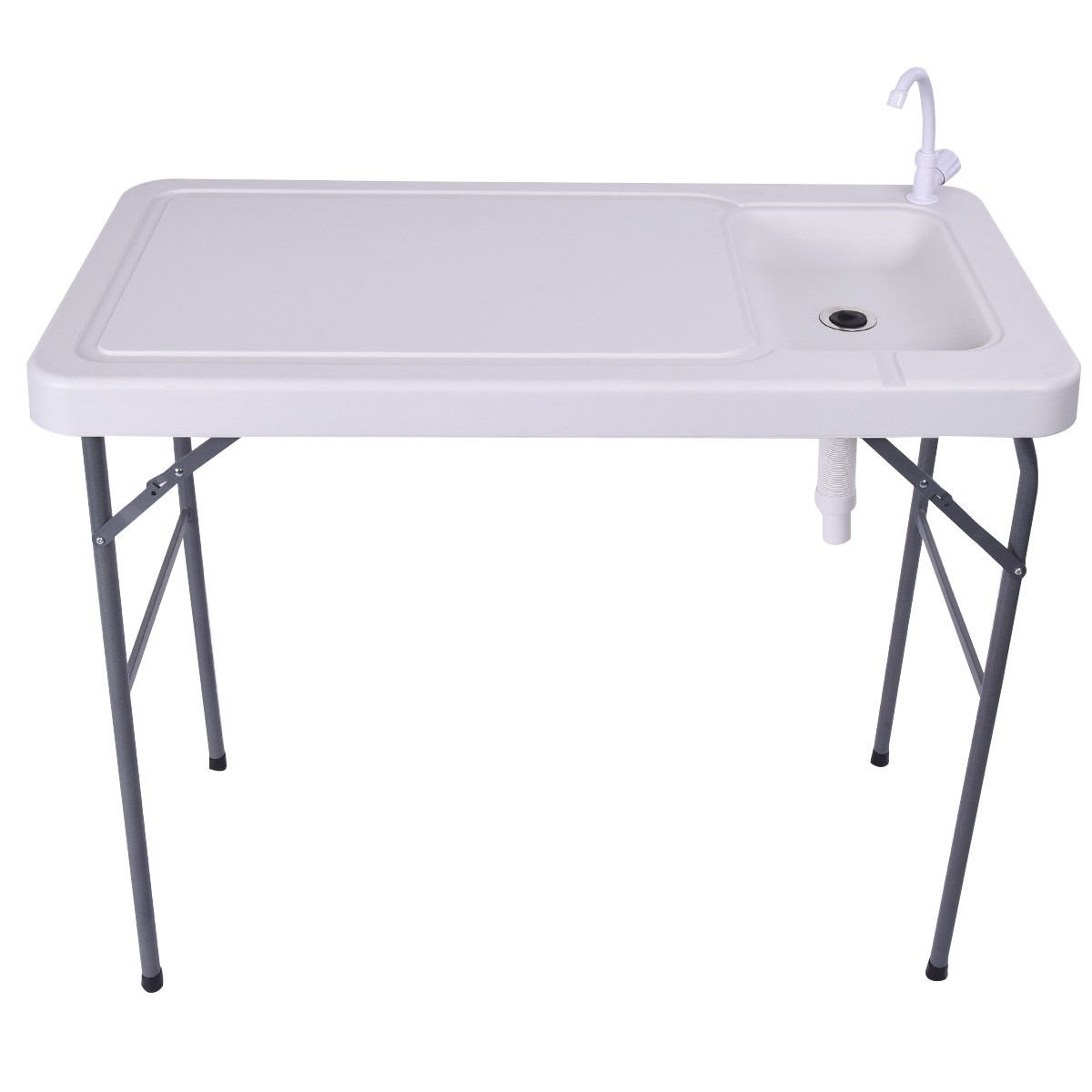 FDInspiration 45'' Outdoor Folding Portable Fish Cleaning Table Camping Sink Faucet w/Adjustable Drain Hose