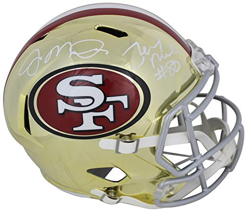 Joe Montana & Jerry Rice Signed In White Full Size Chrome Speed Rep Helmet BAS
