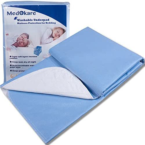 Medokare Bed Pads Bedwetting Underpads -1500ml Large Waterproof Mattress Protector for Incontinence, Hospital Washable Underpad for Kids Elderly Adults, Bed Mat Sheet (36x52-3pack)