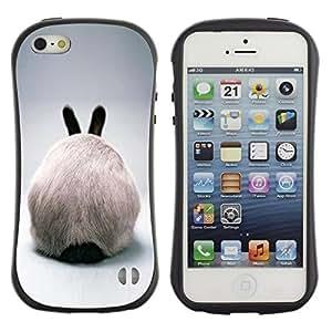 "Hypernova Slim Fit Dual Barniz Protector Caso Case Funda Para Apple iPhone SE / iPhone 5 / iPhone 5S [Rabbit Ears Hare conejito blanco peludo gris""]"