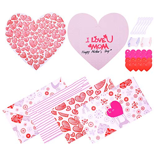 WXJ13 6 Pieces Foldable Heart Shape Mother's Day Greeting Card Heart Envelope Card For Mum, 3 Type ()
