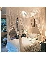 Souarts Ciel de Lit Moustiquaire Baldaquin 4 Côtés Ouverts Décorative le Lit Chambre Contre pour Insectes Blanc