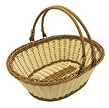 large basket for fruit - TANSTICOLOR 38X28.5X14.5cm large beige and brown wicker fruit baskst for Vegetables Shopping and Picnic Storage