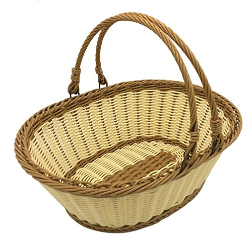 TANSTICOLOR 38X28.5X14.5cm large beige and brown wicker fruit baskst for Vegetables Shopping and Picnic Storage