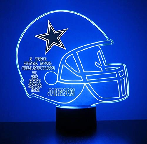 (Mirror Magic Dallas Cowboys Light Up LED Lamp - Football Helmet Night Light for Bedroom with Free Personalization - Features Licensed NFL Decal and Remote )