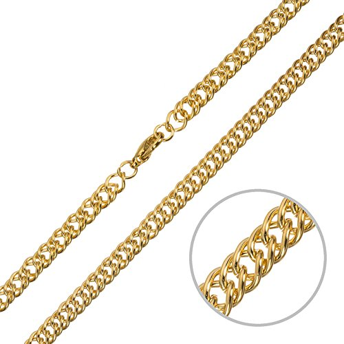 Gold Plated Double Link Curb Chain 1 Metre With Clasp Beads Jar