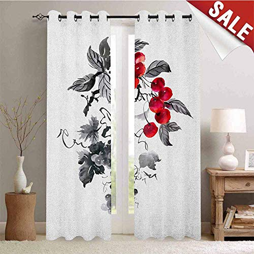 Rowan Picture Custom Gromets Curtain Separate Heating, Rural Nature Inspired Artistic Foliage Composition Wild Berry Plant with Leaves Indoor Darkening Curtains, Grey Ruby Black, W84 x L84 Inches ()