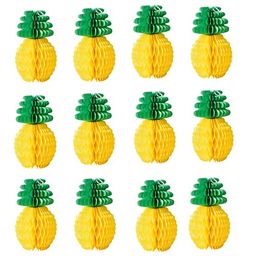 12 Pack Pineapple Honeycomb Centerpieces Tissue Paper Pineapple 8 Inch Party Supplies Table Hanging Decoration Hawaiian Luau Party Birthday Wedding Home -