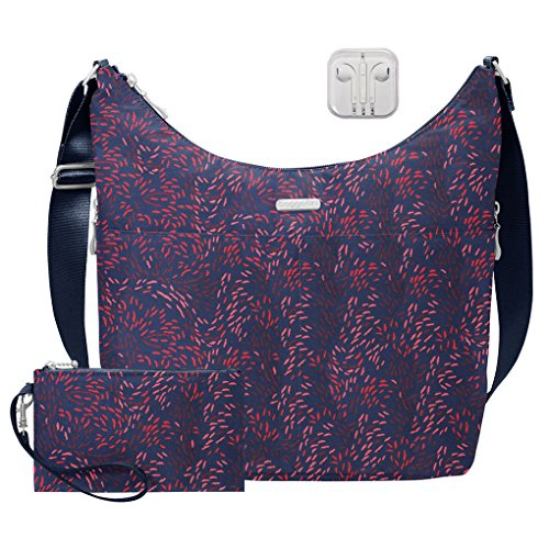 Hobo RFID with Baggallini Earphones Crossbody Travel Print Bundle wristlet Handbag wallet Firework complimentary 45wOqOTCx