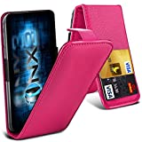 ONX3® (Hot Pink) ZTE Grand X2 Universal Luxury Style Folding PU Leather Spring Clamp Holder Top Flip Case with 2 Cards slot, Slide Up and Down Camera
