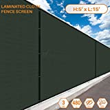 Cheap Sunshades Depot 5′ FT x 15′ FT Dark Green Solid Vinyl Coated Polyester Mesh Fence Screen Residential Commercial Privacy Fence Screen Custom Available 3 Years Warranty 480 GSM 100% Blockage