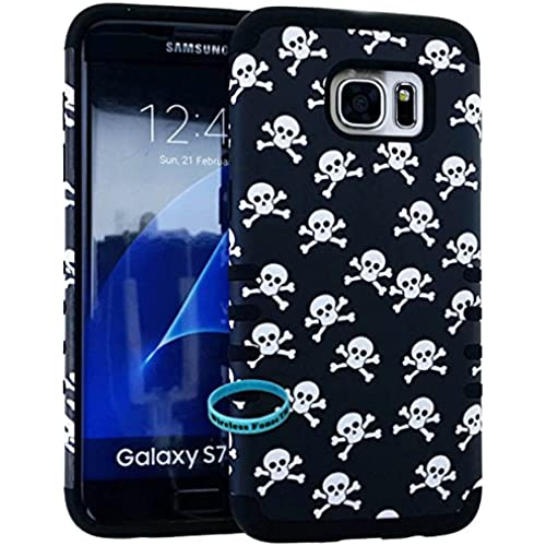 Galaxy S7 Edge Case, Hybrid Shockproof Impact Resistant Slim Cover Skull Bones Snap on Over Black Skin for Samsung Sales