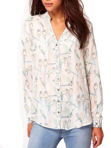 Beau Corner Women Lapel Collar Long Sleeve Magpie Bird Print Blouse White (Bella Print Blouse)