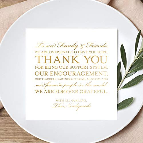(Wedding Thank You Place Setting Cards in REAL GOLD FOIL, 5x5 Print to add to your Table Centerpieces and Wedding Decorations - Pack of 50)