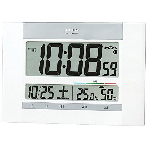 세이코 clock 벽시계 탁상시계 겸용 전파 디지탈 캘린더 쾌적당 온도 습도 표시 백 펄 SQ429W SEIKO
