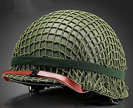 GPPPerfect WWII US Army M1 Green Helmet Replica with Net/Canvas Chin Strap