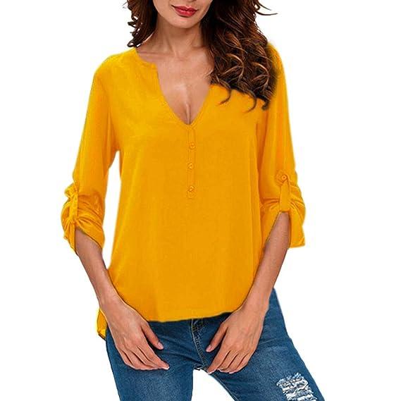 Logobeing Blusas Mujer Tallas Grandes Tops Casuals Camisetas de Manga Larga Botón con Cuello en V Camiseta de Mujer: Amazon.es: Ropa y accesorios