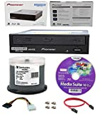 Pioneer 16x BDR-211UBK Internal Ultra HD Blu-ray BDXL Burner, Cyberlink Software and Cable Accessories Bundle with 50pk DVD-R Verbatim 4.7GB 16X DataLifePlus White Inkjet, Hub Printable