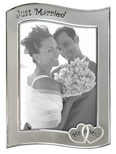 Malden International Designs Wedding Celebrations Just Married Two-Toned Silver Picture Frame, 5x7, Silver