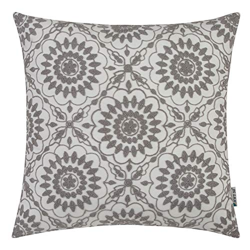 (HWY 50 Grey Embroidered Decorative Throw Pillow Covers Cushion Cases for Couch Sofa Living Room Gray Little Sunflower Farmhouse Floral Cozy 18x18 inch, 1 Piece)