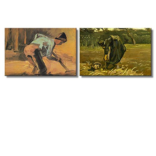 Peasant Woman Digging Up Potatoes Man At Work by Vincent Van Gogh Oil Painting Reproduction in Set of 2 x 2 Panels